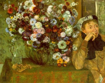 Mulher com crisântemos_Degas